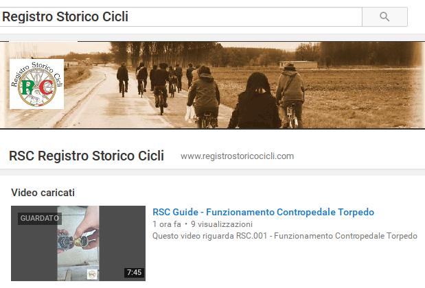 Canale youtube Registro Storico Cicli