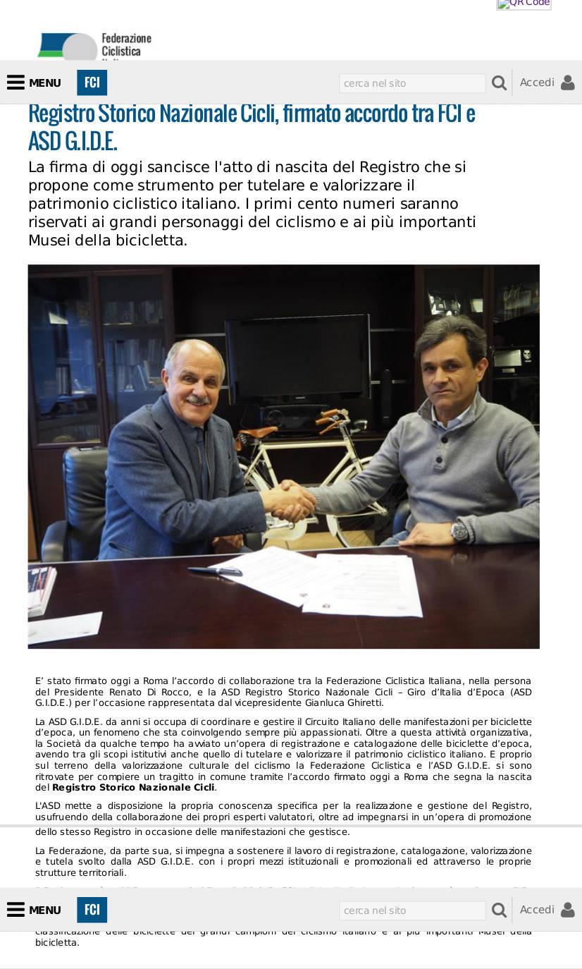 Registro Storico Nazionale Cicli, firmato accordo tra FCI e ASD G.I.D